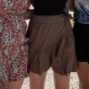Free People Mini Ruffle Flounce-Hem Wrap Skirt